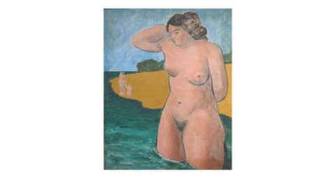 Bather (modernist nude woman oil painting), 1937, by Thomas Eldred, offered by Terenchin