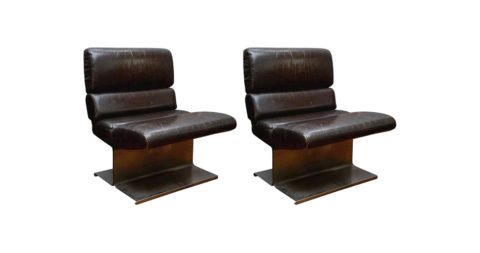 Paul Geoffroy armchairs, 1970, offered by Glustin