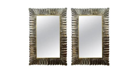 Pair of Murano glass mirrors, 1990, offered by Glustin
