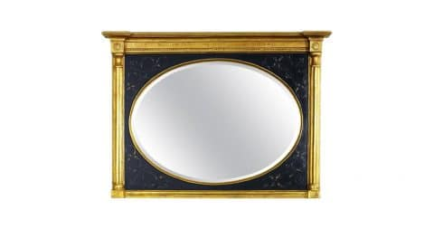 Black and gold mirror with bevel, 1980