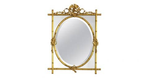 Gilt-bamboo mirror with oval center, 1970