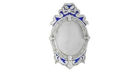 Oval Venetian blue-ribbon mirror, 1980