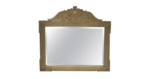Anglo-Japanese-style metal-clad mirror, ca. 1980