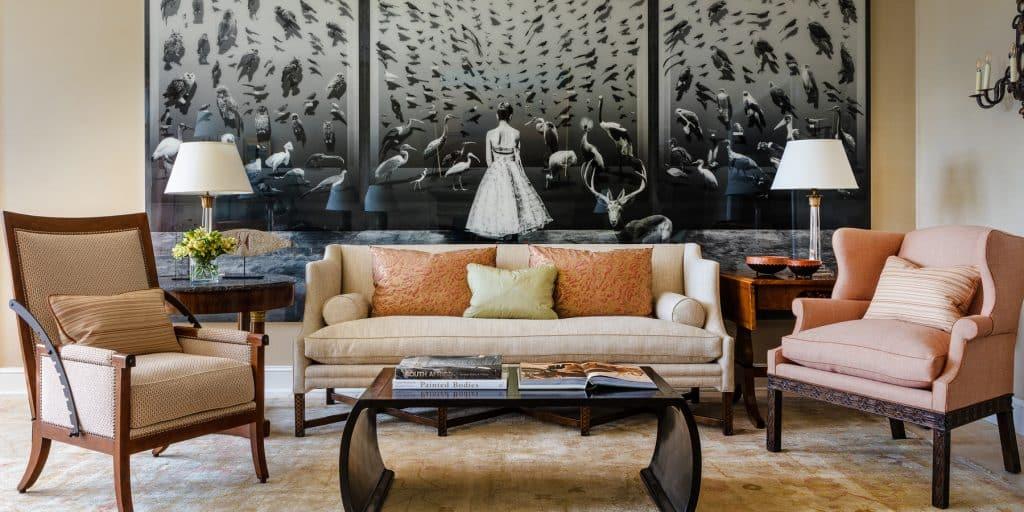 Chicago designer Tom Stringer Indianapolis house living room