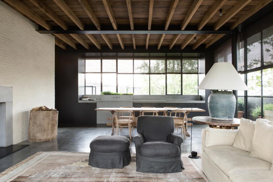 Belgian designer Vincent Van Duysen antwerp Belgium Graanmarkt 13 living room