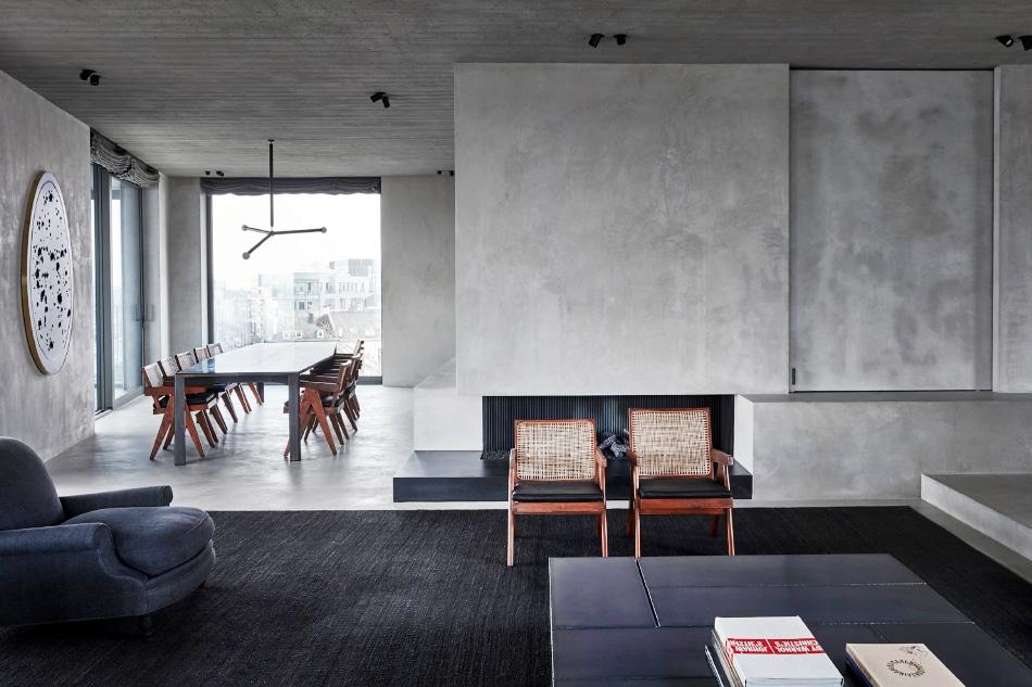 Belgian designer Vincent Van Duysen Antwerp Belgium penthouse living room dining room