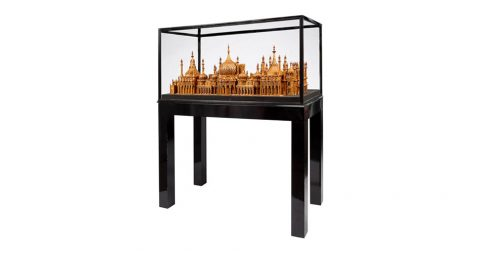 Royal Brighton Pavilion matchstick architectural model, 1960s, by Bernard Martell