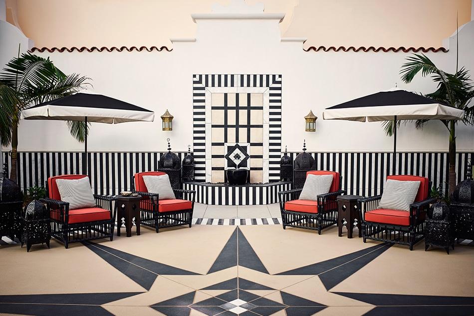 Designer Martyn Lawrence Bullard Hotel Californian Santa Barbara California spa courtyard