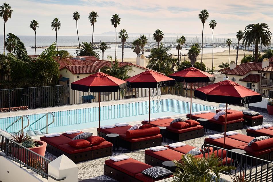 Designer Martyn Lawrence Bullard Hotel Californian Santa Barbara California pool and roof deck