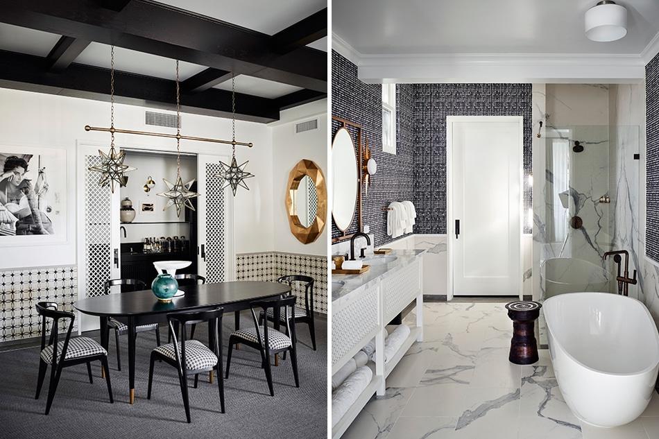 Designer Martyn Lawrence Bullard Hotel Californian Santa Barbara California Presidential Suite dining and bathroom