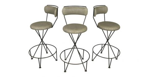 Set of three wrought-iron barstools, mid-20th century, offered by Regan and Smith Antiques