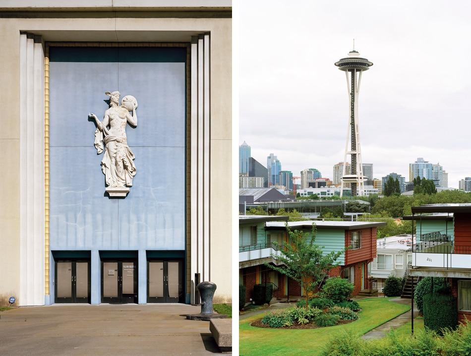 Jade Doskow: Left:San Francisco 1939 World's Fair, 2015. Right:Seattle 1962 World's Fair, Space Needle, 2014