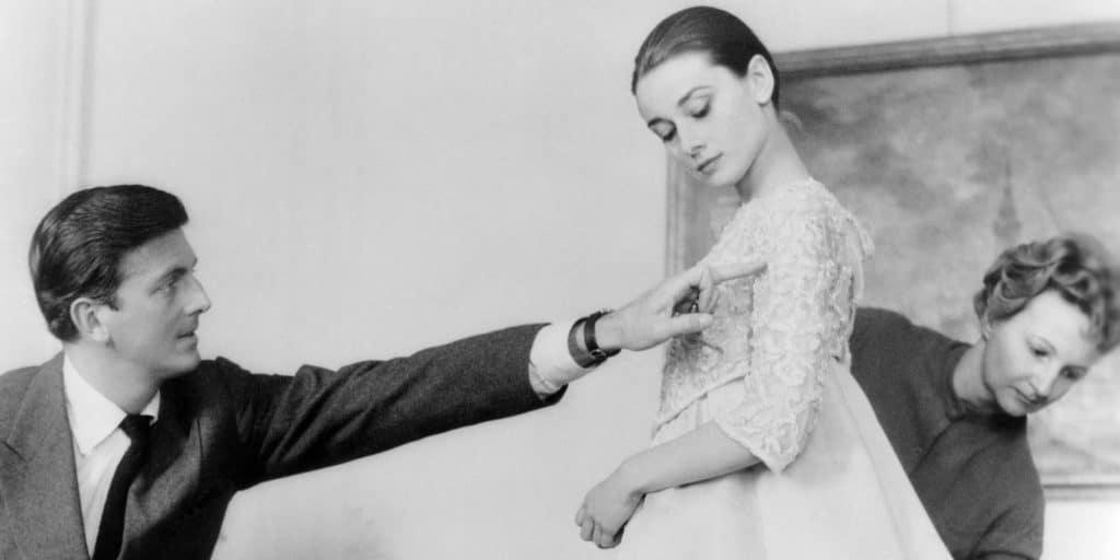 Hubert de Givenchy and Audrey Hepburn dress fitting