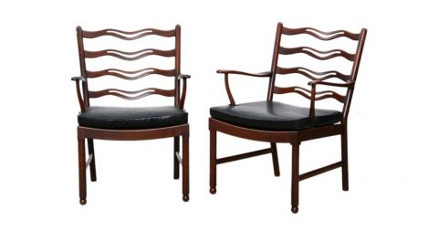 Pair of Ole Wanscher armchairs, 1946, offered by Frank Landau