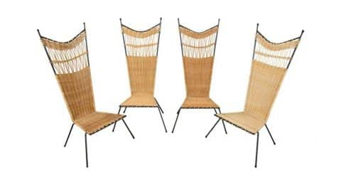 Set of Raoul Guys metal-and-wicker slipper chairs, 1955, offered by Blanchetti