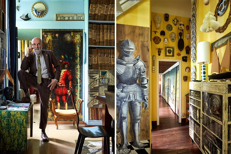Barnaba Fornasetti posed in the library and a suit of arms panel in entry