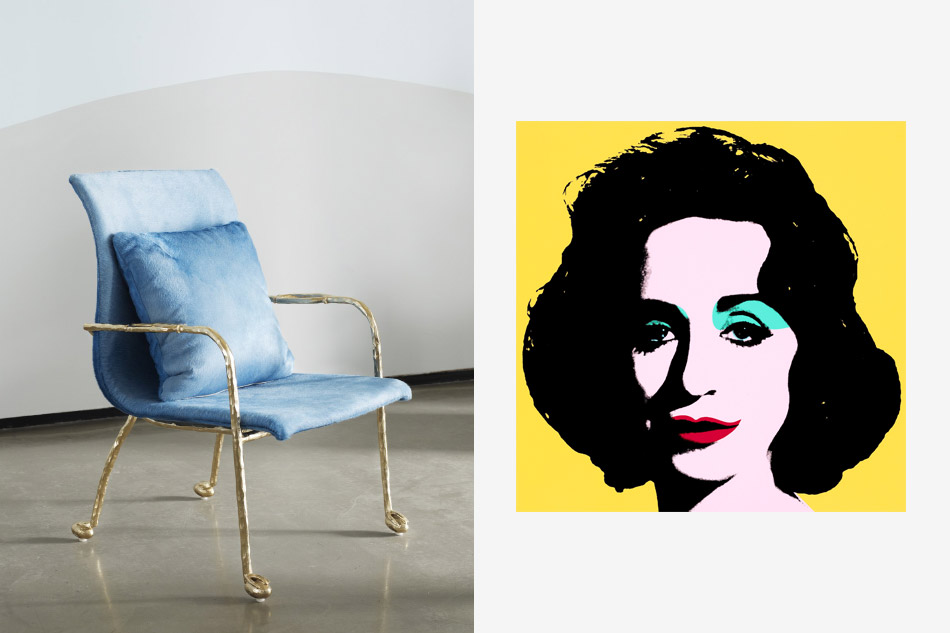 Left: Mattia Bonetti Baron armchair, 2009. Right: Yellow Deb, 2012, by Deborah Kass