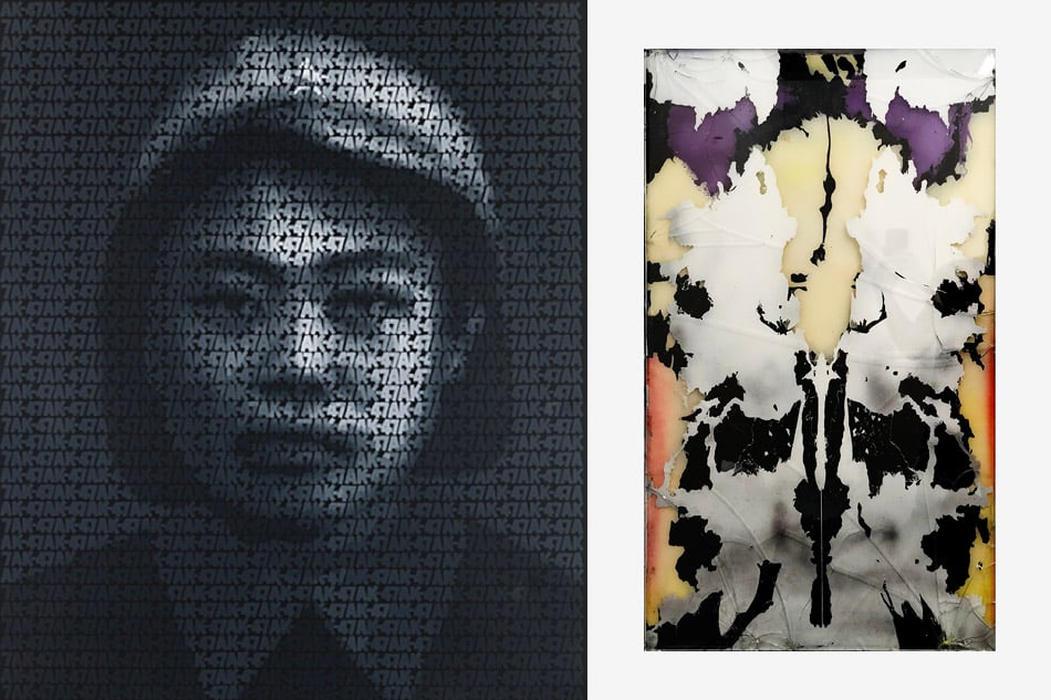 Left: AK-47, 2008, by Zhang Dali. Right: Rorschach One, 2018, by DeShawn Dumas