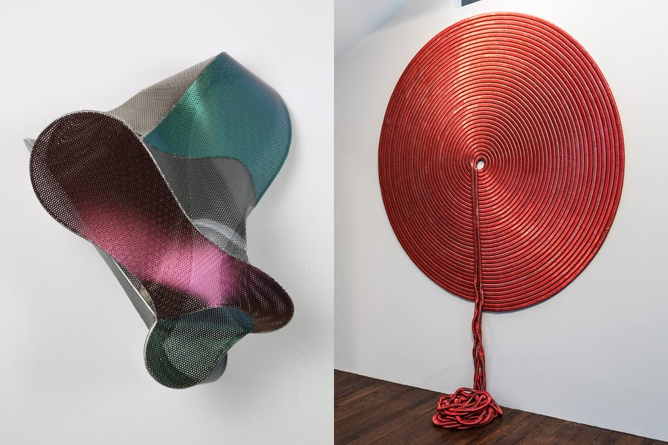 Bujía, 2013, by Blanca Muñoz and Untitled, 2016, by Alice Hope