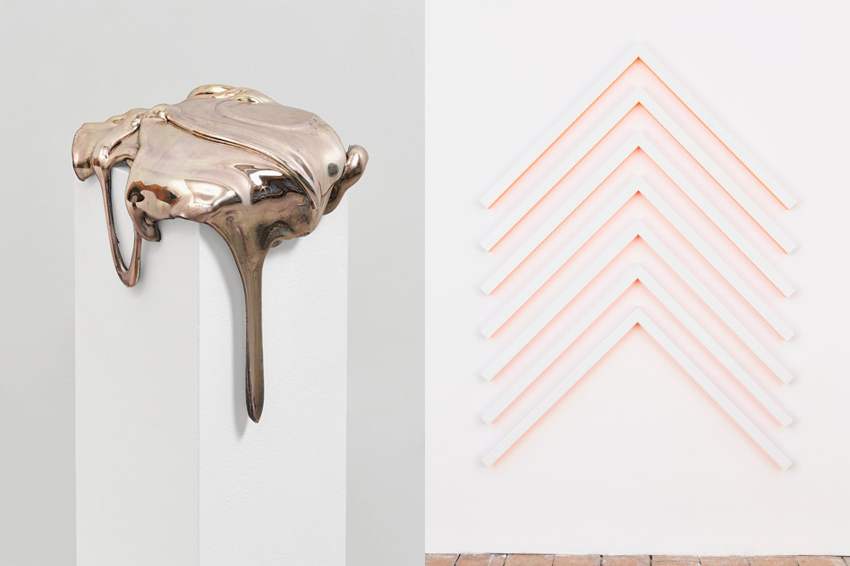 Selling the Dream, 2017, by Katherine Vetne and No. 546 Chevrons, 2014, by Rana Begum