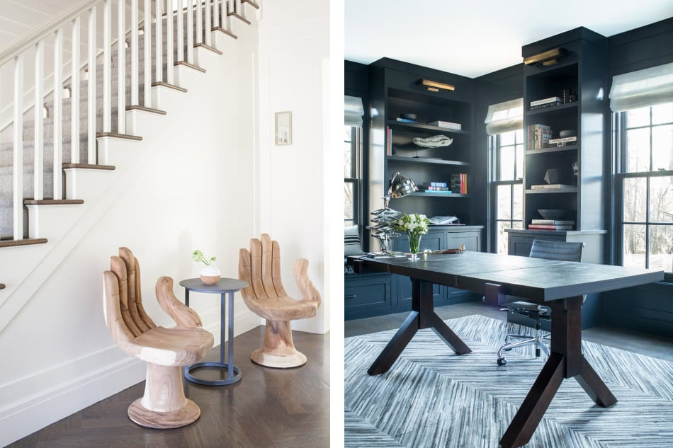 entryway with hand chairs, study with desk by Chango & Co.