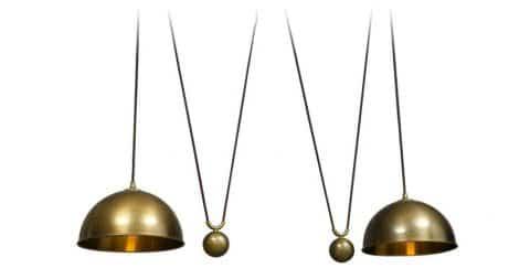 Florian Schulz brass Posa double-drawbar ceiling lamp, 1970s, offered by RetroRaum