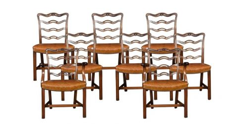 Set of eight ribbon-back Chippendale-style dining chairs, ca. 1900, offered by Shackladys Antiques