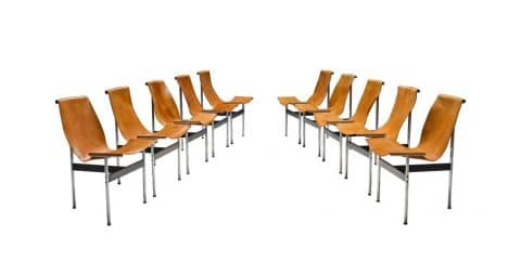 Set of 10 Katavolos, Kelly and Littell T chairs, 1952, offered by Morentz