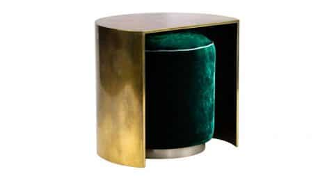Demilune cocktail side table with hideaway velvet pouf, new, offered by Sors