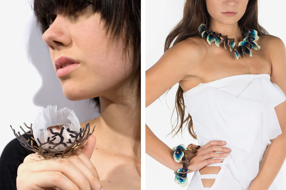 Blossom ring and Palomino wrap necklace and wrap bracelet by Cheryl Eve Acosta