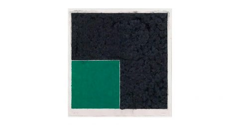 <b><i>Colored Paper Image XVIII (Green Square with Dark Grey)</i></b>, 1976, by Ellsworth Kelly, offered by Robert Fontaine Gallery