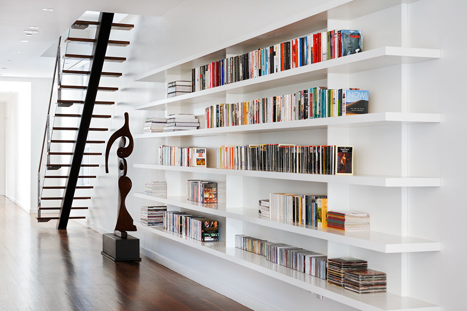 Staircase and bookshelves designed by Magdalena Keck