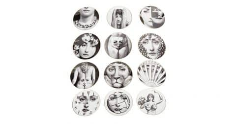 Piero Fornasetti for Rosenthal set of 12 Temi E Variazioni plates, 20th century, offered by Showplace Antique + Design Center