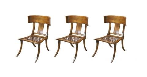 T.H. Robsjohn-Gibbings klismos chairs, 1960, offered by Vintage Luxury