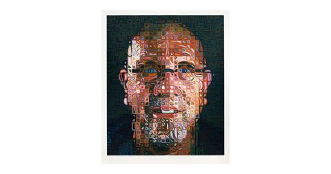 <i>Self-Portrait</i>, 2012, by Chuck Close, offered by Dawson Cole Fine Art