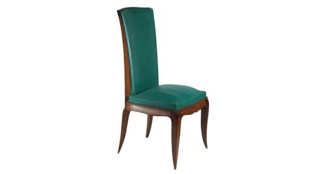 Set of six dining chairs in beech, ca. 1940, offered by Calderwood Gallery