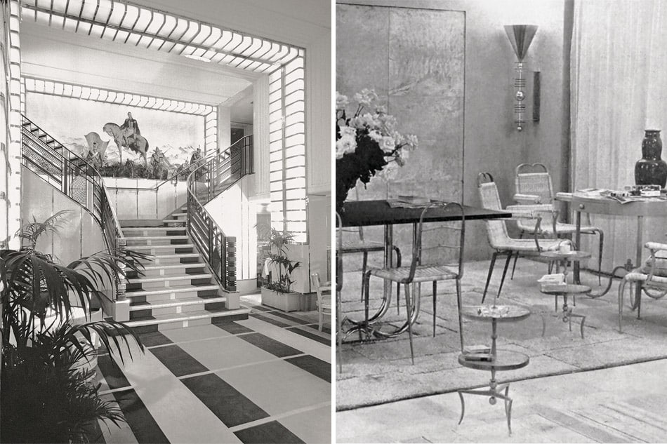 staircase in the dining room of the ocean liner Columbie and designs by Rene Prou in the Salon des artistes décorateurs, 1933