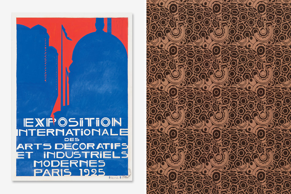 Rene Prou designed poster for the 1925 Exposition and damask fabric