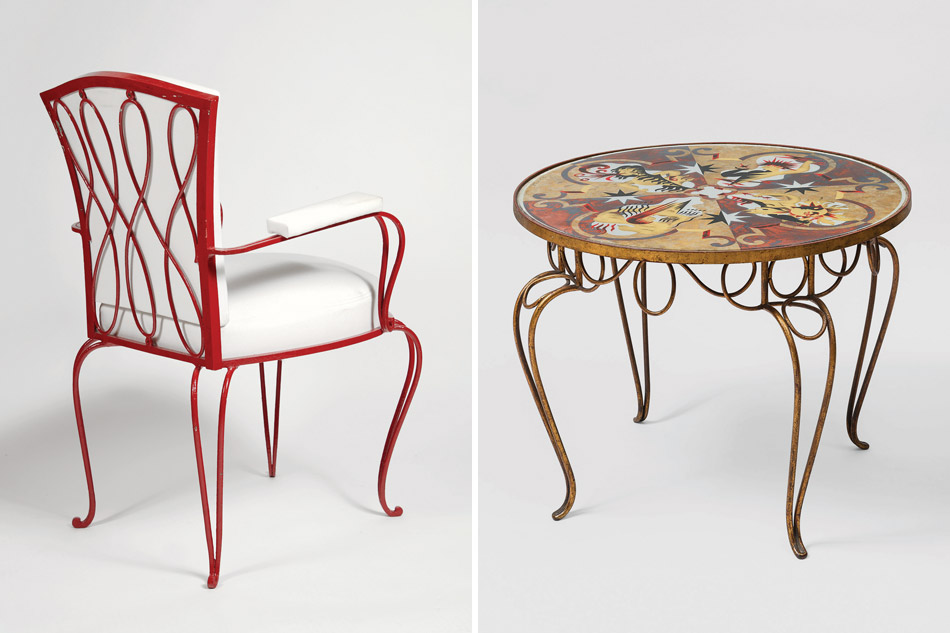 René Prou Red Duralumin chair and wrought iron and parchment table
