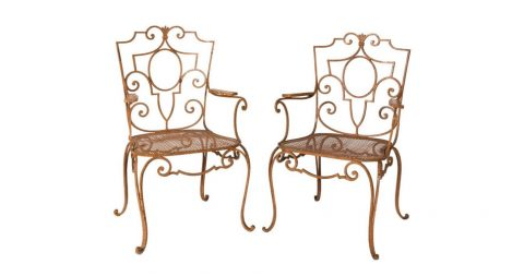 Jean-Charles Moreux garden chairs, early 20th century, offered by the Antique and Artisan Gallery