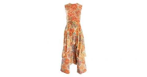 Oscar de la Renta batik-print silk jumpsuit with attached skirt, 1970s, offered by Brent Amerman