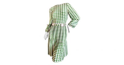 Cardinali day dress with disco ball belt, 1970s, offered by Ricky Serbin Haute