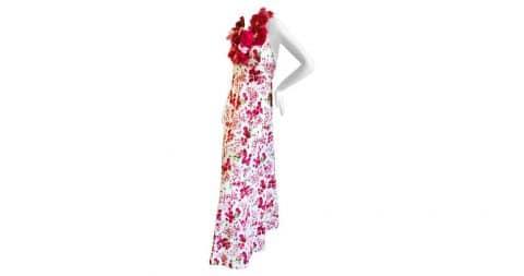 Cardinali floral silk halter evening dress, 1973, offered by Ricky Serbin Haute
