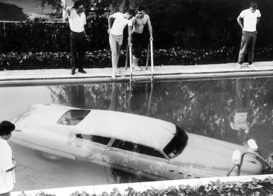 photo of car in pool