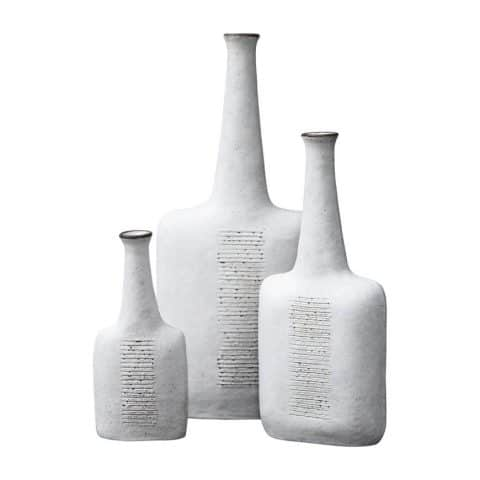 Bruno Gambone stoneware greige vases, 1984, offered by Modern Design Connection