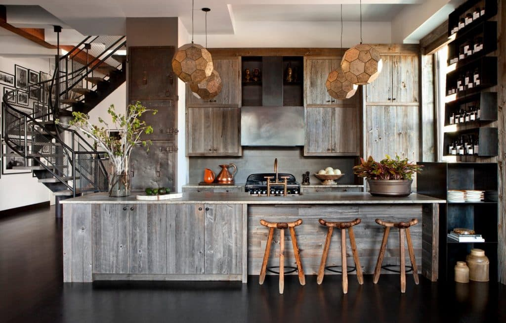 reclaimed wood kitchen by Huniford Design Studio