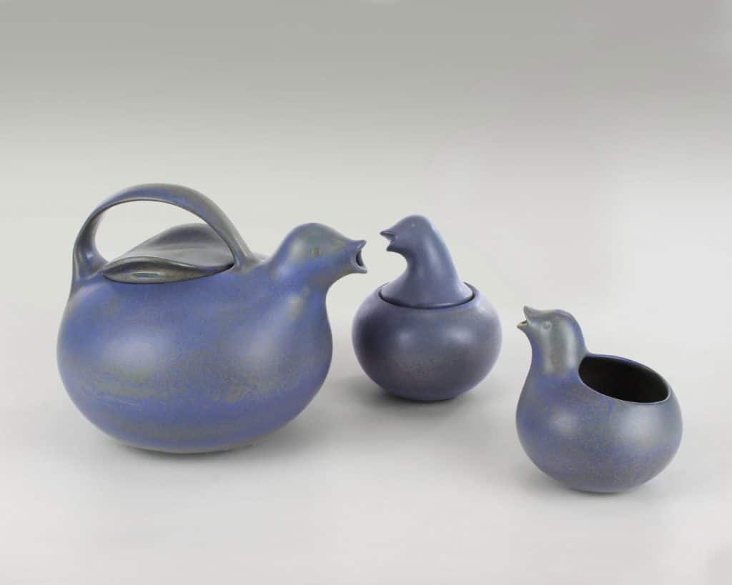 Eva Zeisel, teapot, creamer, and sugar, for Monmouth Pottery, 1953.
