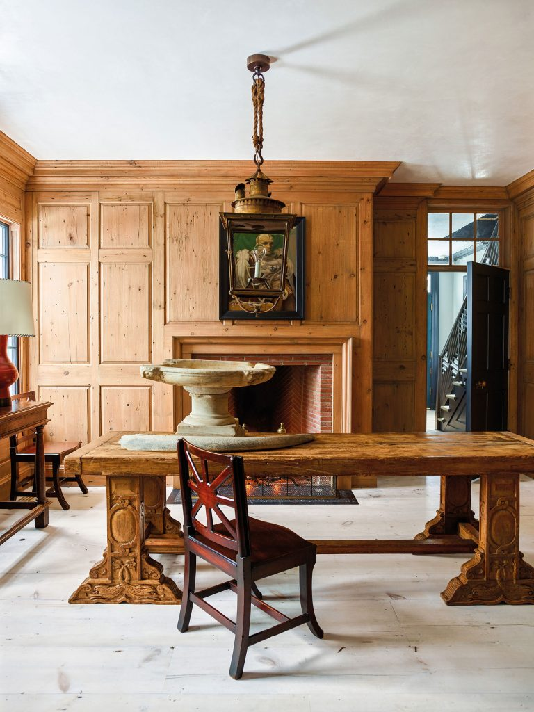 pine-paneled room by Steven Gambrel