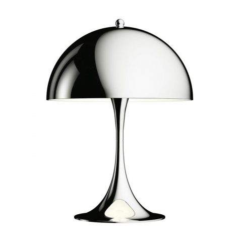Panthella mini table lamp in chrome for Louis Poulsen, new, offered by Two Enlighten Los Angeles