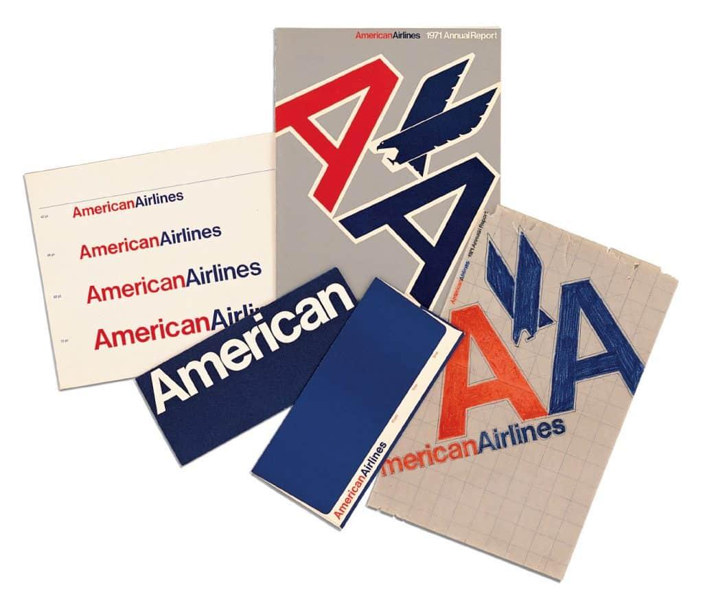 Designers Massimo and Lella Vignelli American Airlines graphic identity